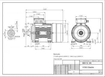 výkres elektromotor MS 112 prevedenie B3