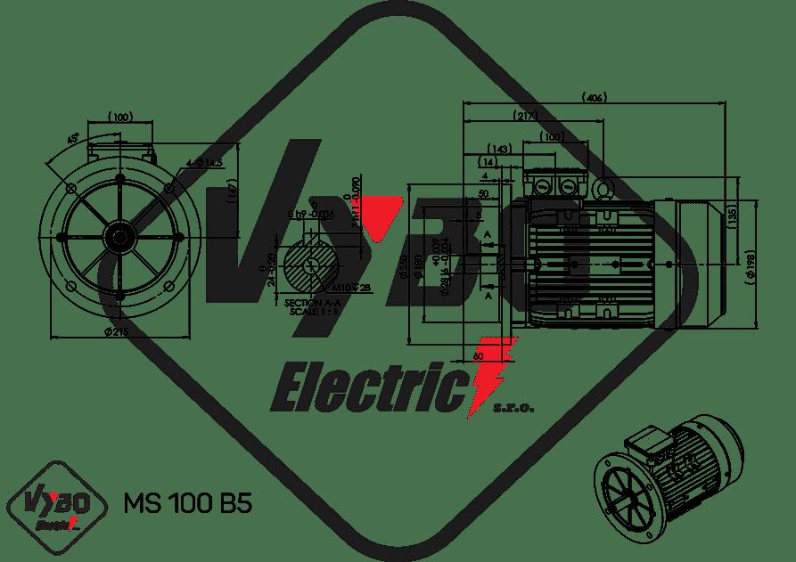 rozmerový výkres elektromotor ms100 3kw