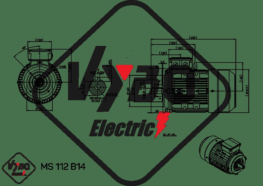 rozmerový výkres elektromotor ms112-4 4kw