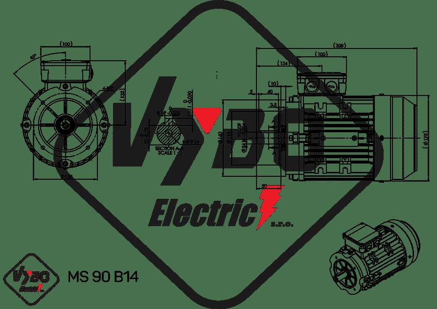 rozmerový výkres elektromotor ms90-6 1,1kw