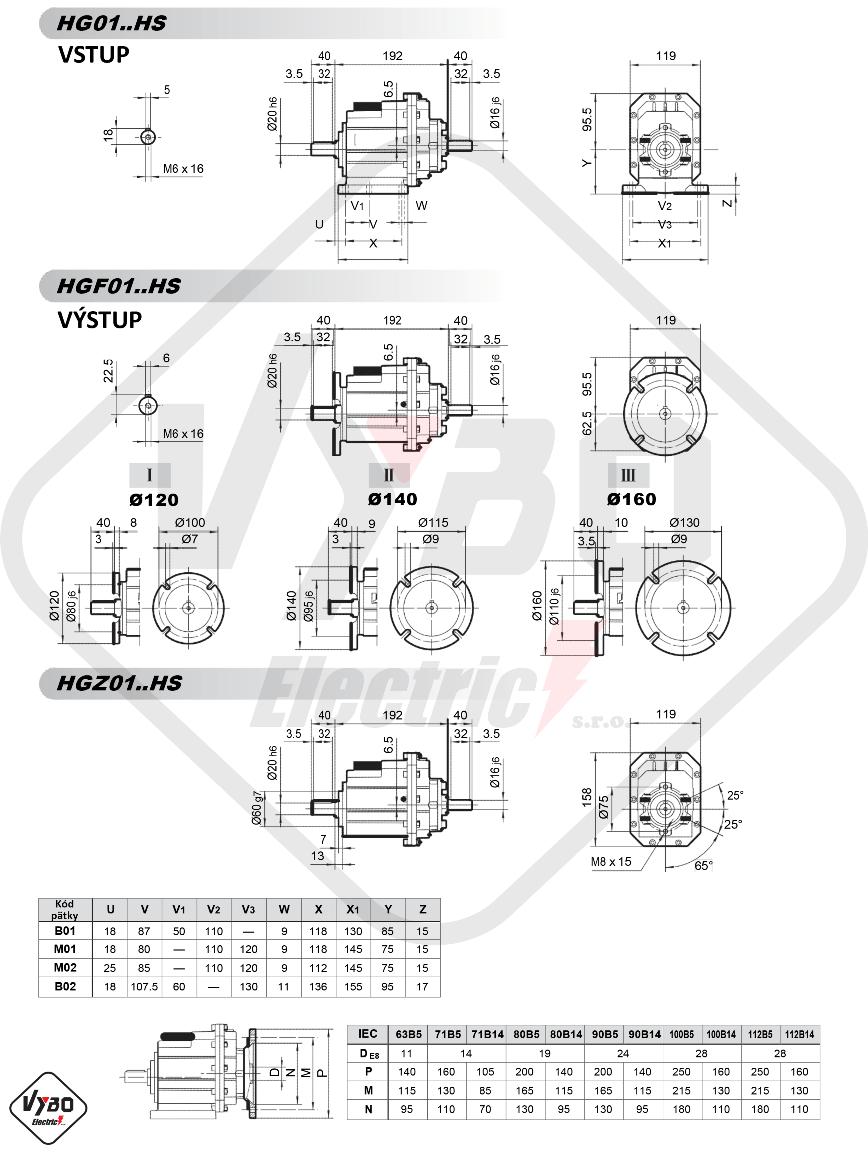 rozmerový výkres čelná prevodovka hg01