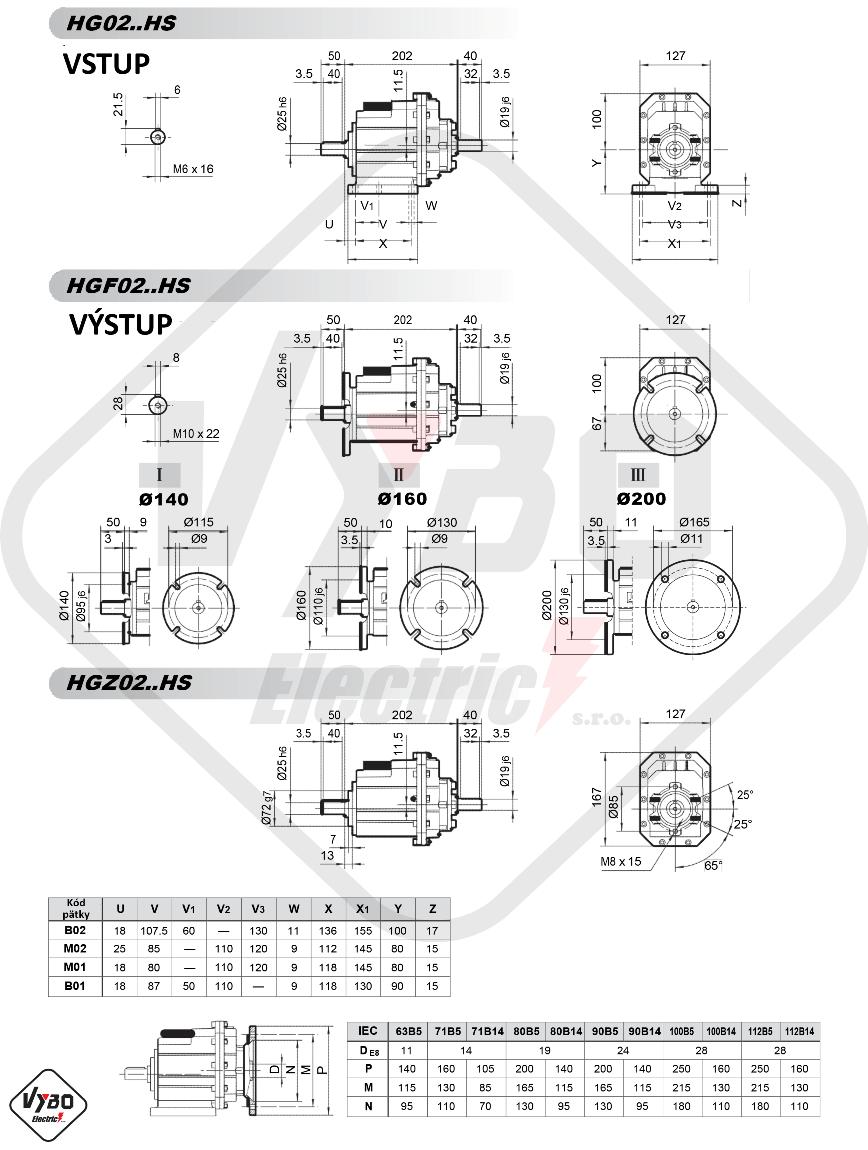 rozmerový výkres čelná prevodovka hg02