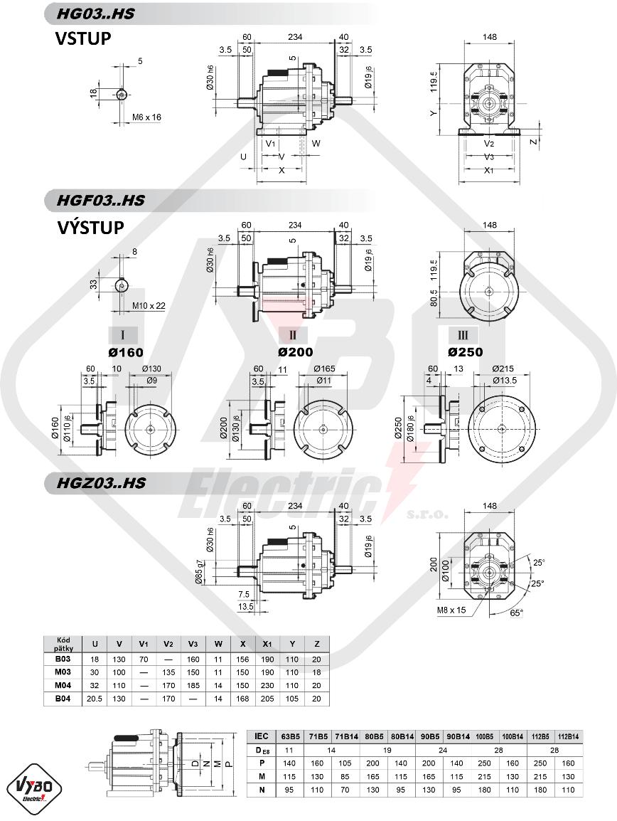 rozmerový výkres čelná prevodovka hg03