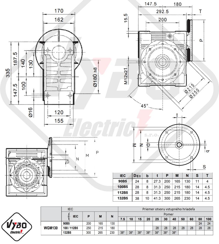 rozmerový výkres prevodovka wgm130