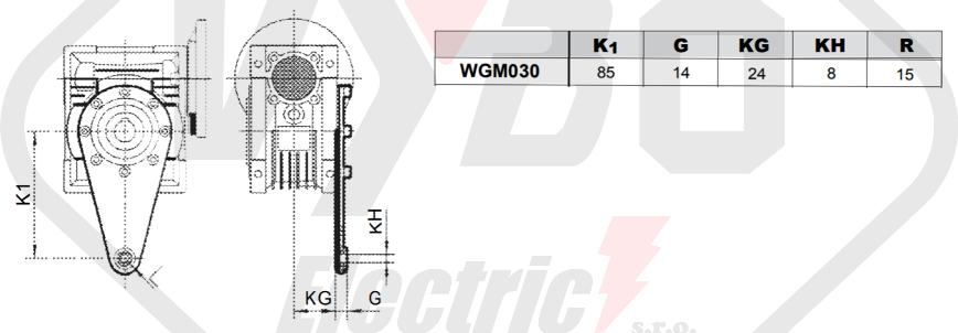 torzné rameno šnekovej prevodovky wgm030