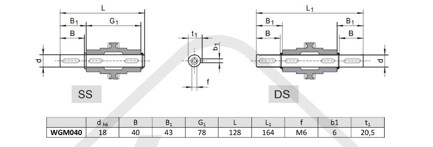 výstupné hriadele prevodovka wgm040