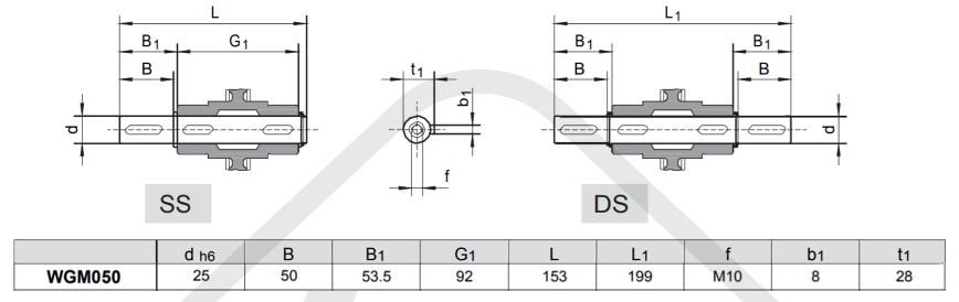 výstupné hriadele prevodovky wgm050