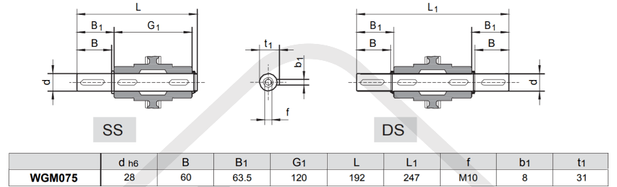 výstupné hriadele prevodovka wgm075