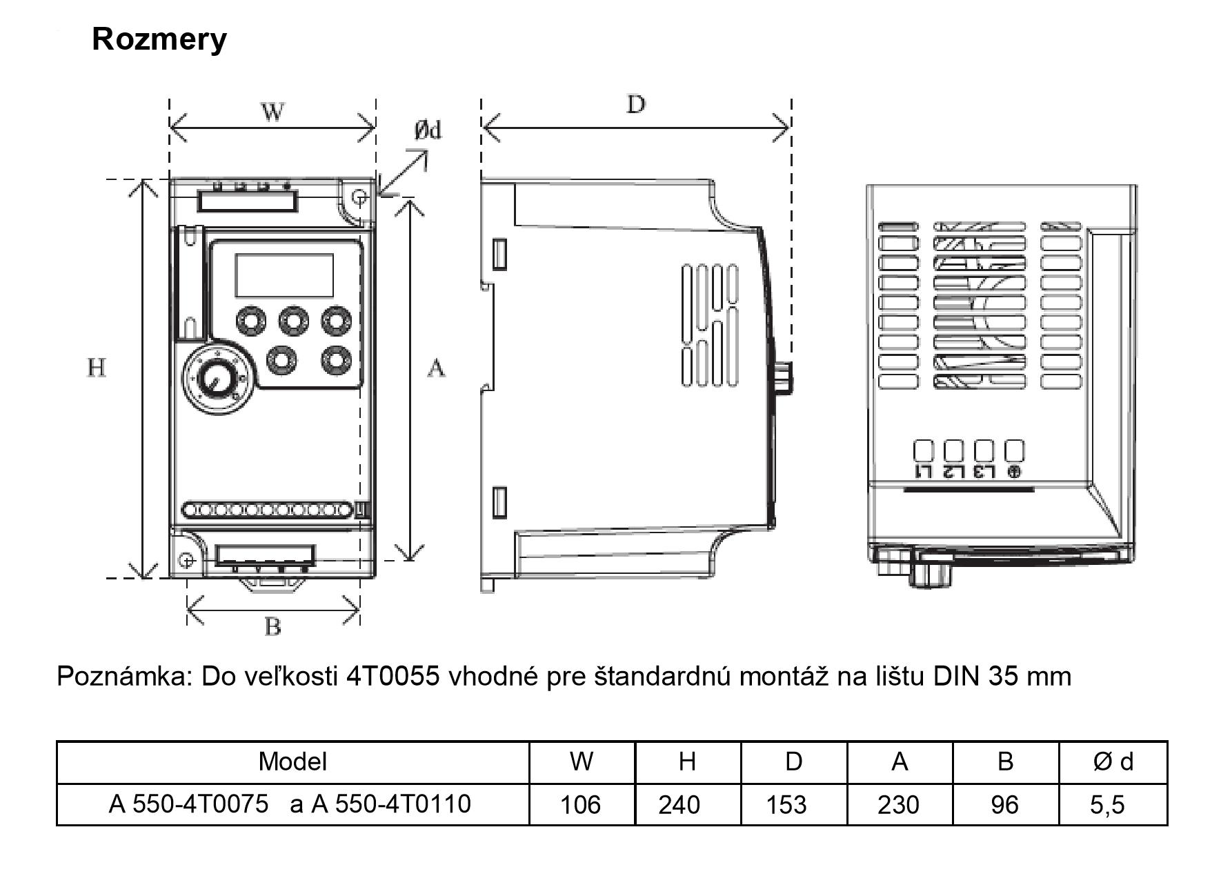frekvenčný menič a550 7,5kw
