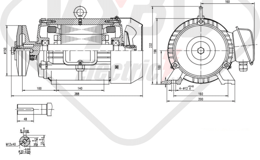rozmerový výkres pílový elektromotor KRM 100L1-4