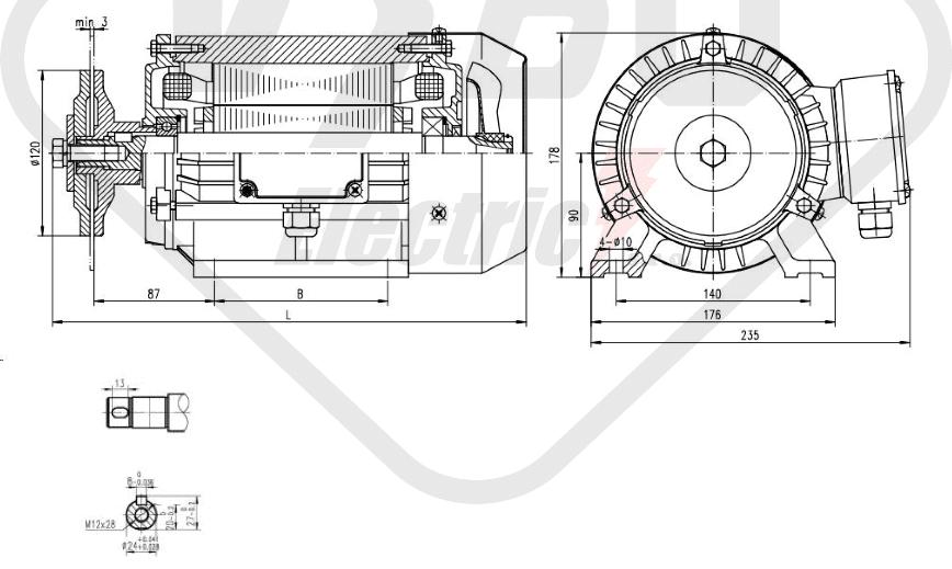 rozmerový výkres pílový elektromotor KRM 90LX-4