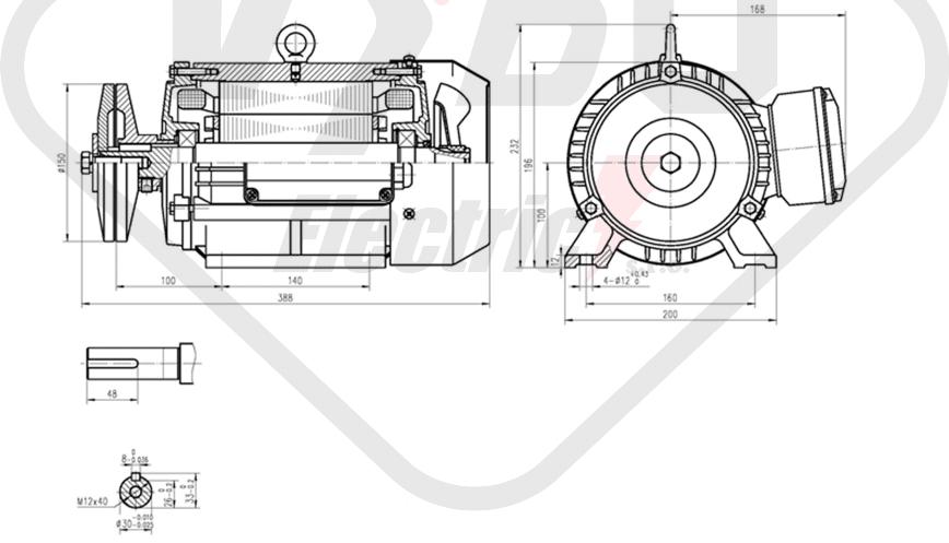 rozmerový výkres pílový elektromotor KRME 100LB-4
