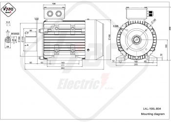 rozmerový výkres elektromotor 1AL 100L B3
