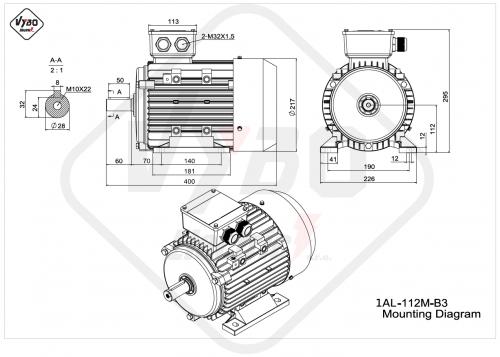 rozmerový výkres elektromotor 1AL 112M B3