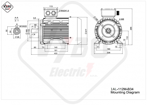 rozmerový výkres elektromotor 1AL 112M B34