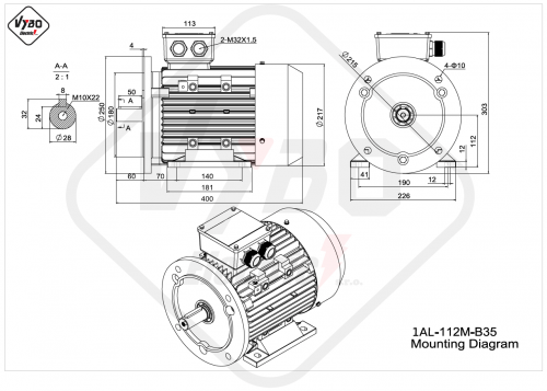 rozmerový výkres elektromotor 1AL 112M B35