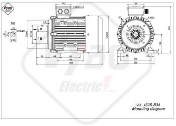 rozmerový výkres elektromotor 1AL 132S B34