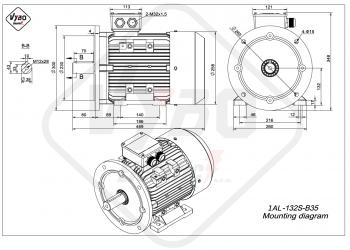 rozmerový výkres elektromotor 1AL 132S B35