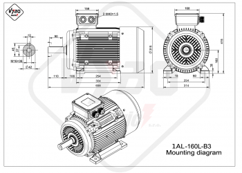 rozmerový výkres elektromotor 1AL 160L B3