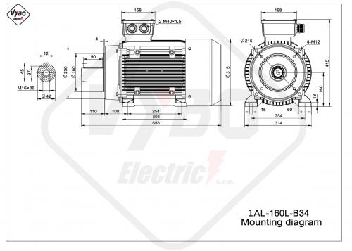 rozmerový výkres elektromotor 1AL 160L B34