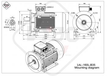 rozmerový výkres elektromotor 1AL 160L B35
