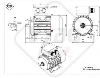 rozmerový výkres elektromotor 1AL-56-B3