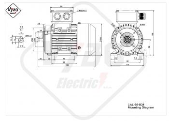 rozmerový výkres elektromotor 1AL-56-B34