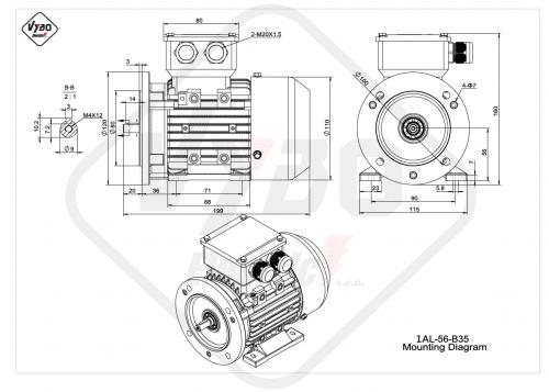rozmerový výkres elektromotor 1AL-56-B35