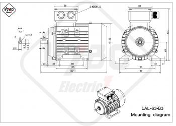 rozmerový výkres elektromotor 1AL 63 B3
