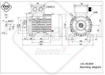 rozmerový výkres elektromotor 1AL 63 B34
