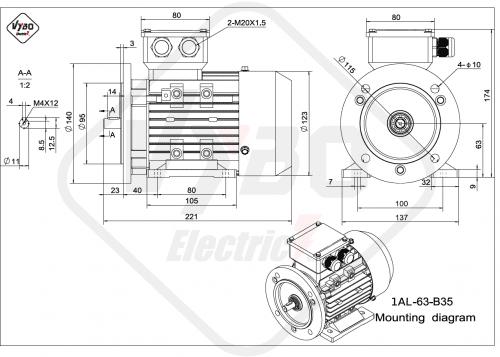 rozmerový výkres elektromotor 1AL 63 B35