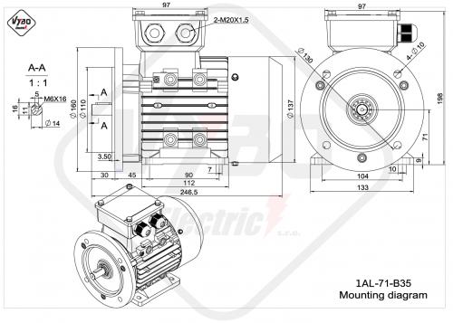 rozmerový výkres elektromotor 1AL 71 B3