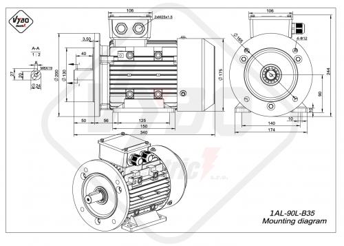 rozmerový výkres elektromotor 1AL 90L B35
