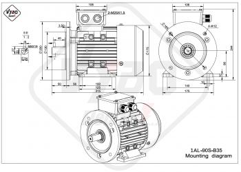 rozmerový výkres elektromotor 1AL 90S B35